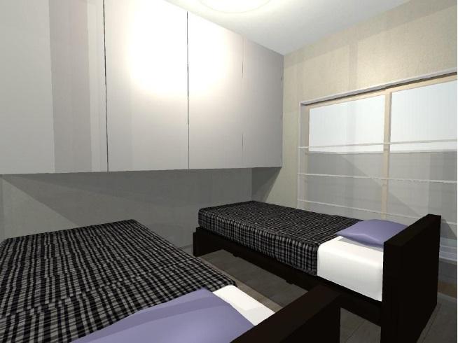 ベッド上部の吊戸収納