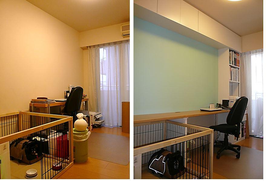 シンプルな間取り壁面収納で使い勝手のよい仕事部屋へ