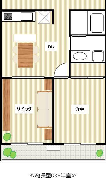 縦型DK+洋室の間取り