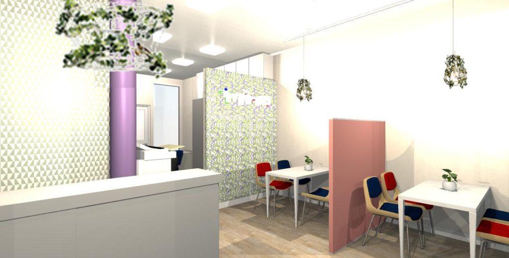 不動産店舗のインテリアデザイン提案のイメージパース。モザイクタイルとピンクの間仕切り、紫の柱と葉のペンダントライトがオシャレなカフェのような雰囲気に。