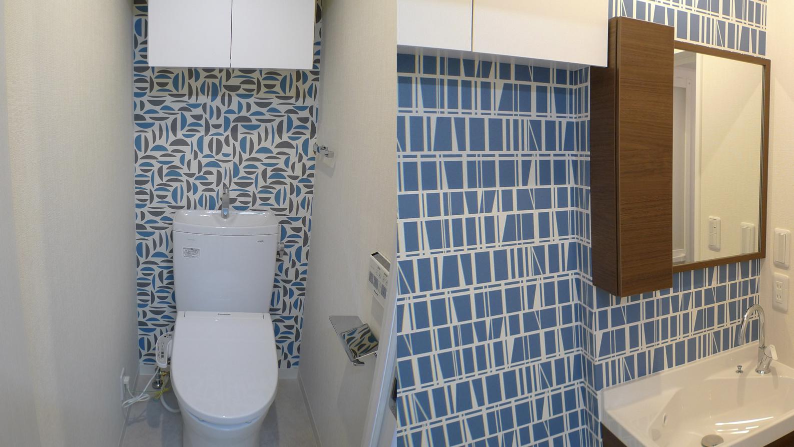 ブルーの壁紙の爽やかな水回り テーマ色:ブルー