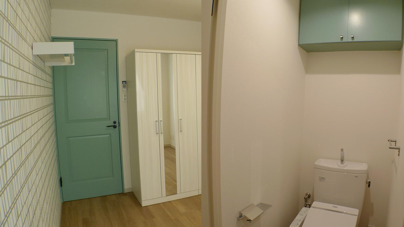 共用トイレはシンプルながらも色を1色