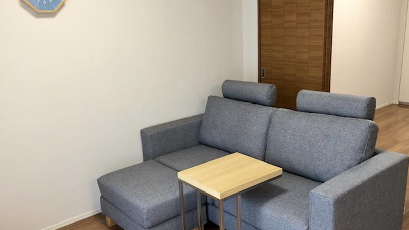 コンパクトなグレーのソファのLDK