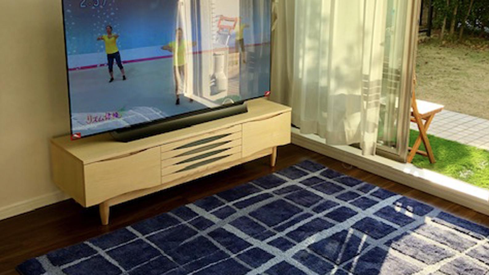 海を感じさせるラグに木製TVボードのあるリビング