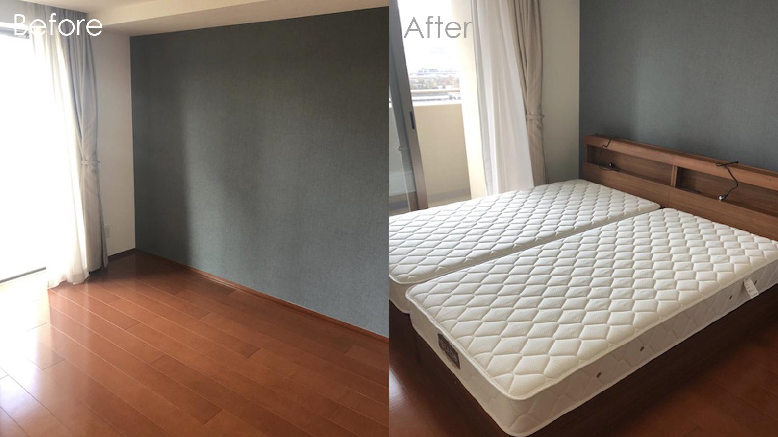 ご夫婦のベッドをアクセントクロス施工後の寝室にプラス