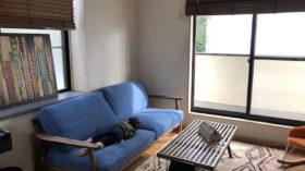 ブルー×ウッドのソファーでイマドキ感のあるLDKに