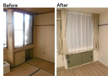 長押や地袋を塗装し和室から洋室へ