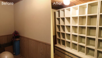 地下室に週報力のあるオープンの壁面収納を