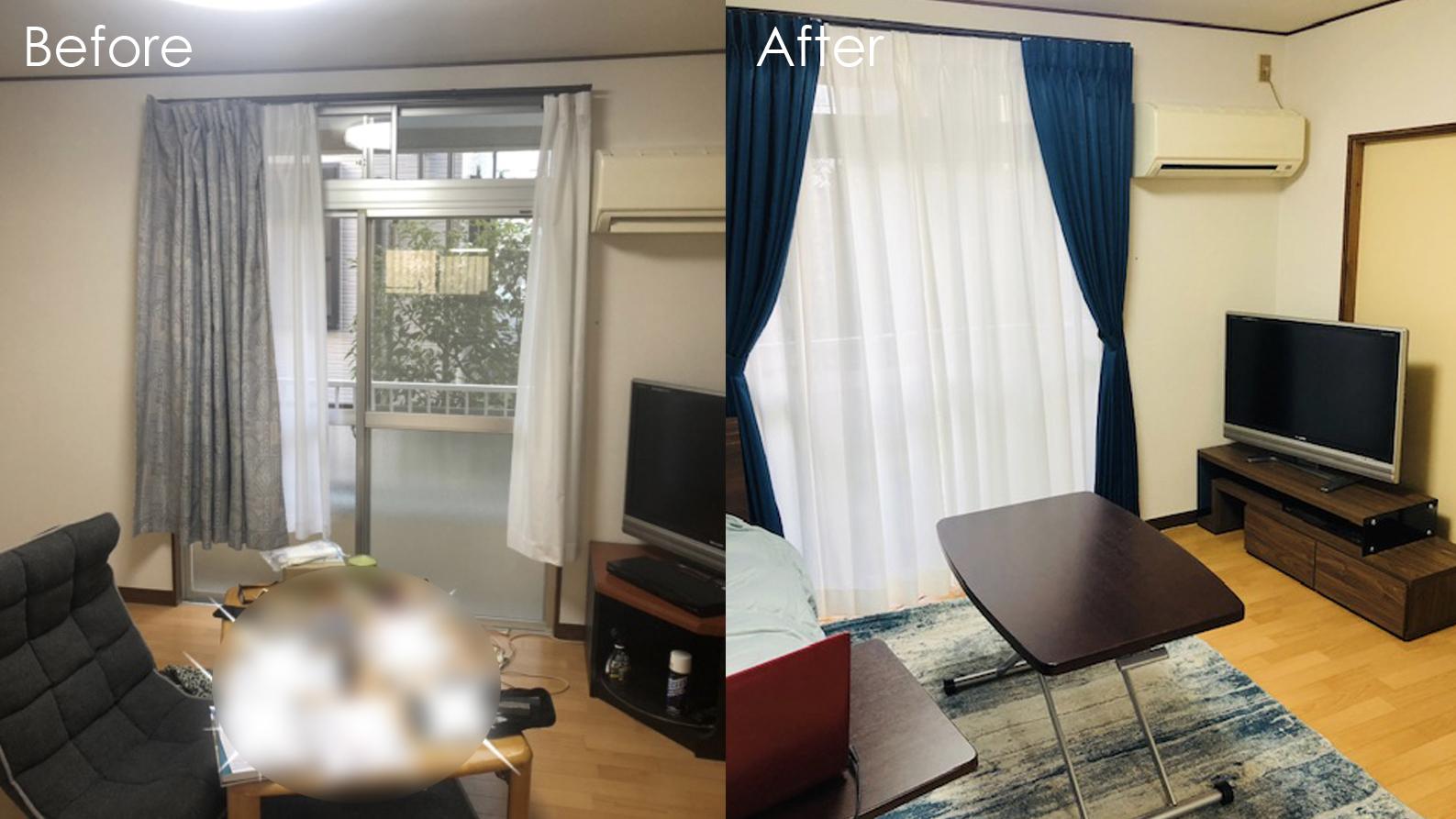 ブラウン系の家具にブルーをアクセントにした男性一人暮らしの部屋